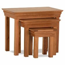 Durant Brown Oak Wood Nest Of 3 Tables - Fully Assembled - Free UK Delivery