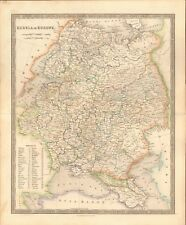 1843 ANTIQUE MAP- DOWER - RUSSIA IN EUROPE, LIST OF PROVINCES