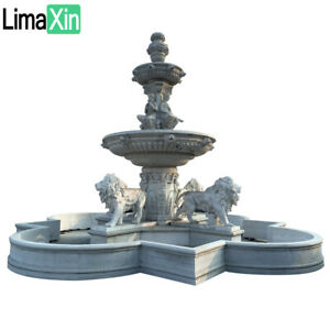 HAND CARVED ESTATE GRAY GRANITE OUTDOOR LION FOUNTAIN,MARBLE LION FOUNTAIN