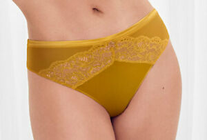 M&S Rosie Autograph Silk & Lace Ochre High Leg Knickers Size 8 12 14  NEW
