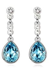 Ocean Blue Tear Drop Wedding Party Evening Dangle Earrings Gift Pouch Included