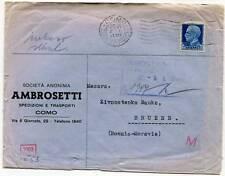 Italy Como Jan,3 1941 Merchant Cover to Bohemia-Moravia WW2 German Reich Censor