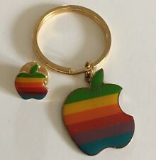 Vintage Apple Computer Rainbow Logo Lapel Pin & Key Chain 1980s