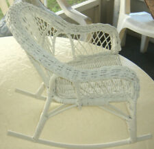 "VTG 12"" White Wicker Rocking Chair Doll Bear Chic Garden Art Plant Display"