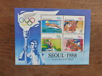 NEW ZEALAND HEALTH STAMPS 1988 SEOUL OLYMPICS 4 STAMP MINI SHEET MNH