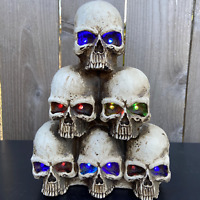 "Illuminated 11"" Resin Musical Stack of Skulls / Pile of Skulls - Halloween"