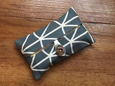 HANDMADE PACKET TISSUE HOLDER MADE WITH ORLA KIELY COOL GREY LINEAR STEM FABRIC