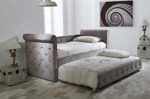 Mink velvet trundle bed ARVO - day/guest bed bedframe