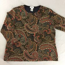 Laura Ashley Petite Knit Top Stretch 3/4 Sleeve Metalic Paisley Tag Size PM