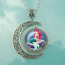 pendant Women jewelry Gift for Girl Little Mermaid necklace Moon jewelry Beauty