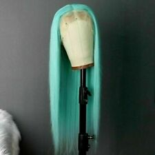 Luxury Lace Front Remy Light Blue Full Lace Human Hair Wig Ombre Green Turquoise