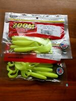 "Lot of 20 ct Zoom 4"" Chartreuse Pearl Tab Tail Grubs"