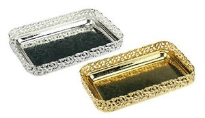 Silver or Gold Serving Tray Rectangle Gift Tray Mirror Polished Paandan Tray