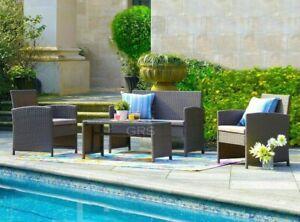 Rattan Garden Furniture Set 4pc Outdoor Table Chair Sofa Conservatory Patio Grey
