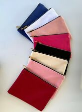 Lot of 6 Plain Cosmetic Bags with Zipper