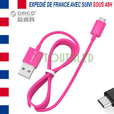 CABLE CORDON MICRO USB 50CM ROSE ORICO HIGH SPEED 2A CHARGE TRANSFERT DONNEES