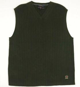 Vintage Logo Tommy Hilfiger Mens Sweater Vest V Neck Green Size Large