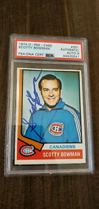 1974-75 OPC SIGNED AUTO ROOKIE CARD SCOTTY BOWMAN CANADIENS WINGS 261 PSA DNA 9