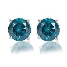Screw Back Stud Earrings 2.00 Ct Round Cut Aqua Blue Solid 925 Sterling Silver
