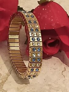 Blue stone bracelet Yellow Gold 24k Jewelry for Mom Ladie Mother Sister gift 2ct