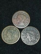 Lot of 3 Large Cents - 1C - 1852, 1853, unknown - Us Coins. Worn/Cull