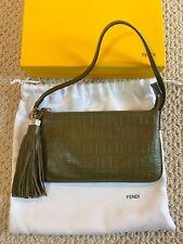 Vintage Rare Fendi Embossed Zucchino Tassel Green Leather Mini Bag Wristlet