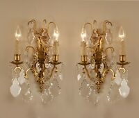 A pair Antique French crystal prisms pendants gilded bronze 2 light wall sconces