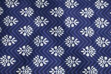 1 Yard Fabric Cotton Screen Printed Floral Print Craft Sewing Dressmaking Indian