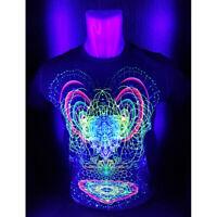 """Herren T-Shirt """"Alien mind"""" mit Druck UV aktiv Schwarzlicht Neon PSY"""