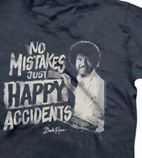 Bob Ross Men's PBS Vintage TV Painter Grey T-Shirt Size Medium No Mistakes Happy