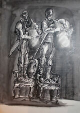 Vintage expressionist ink painting bagpipers portrait