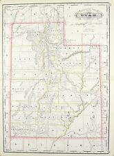 1887 Railroad and County Map of Utah Antique
