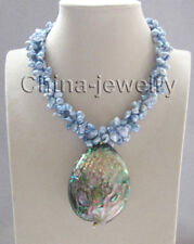 "17 "" 3row blue keshi reborn freshwater pearl necklace +Abalone shell pendant"