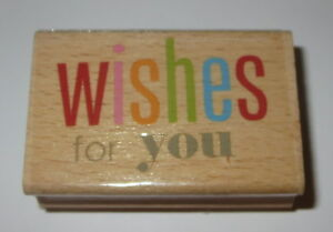 """Wishes For You Rubber Stamp Wood Mounted 2.25"""" Long"""