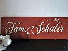 Holz Schild Familie Türschild personalisiert mit Wunschname und Farbauswahl
