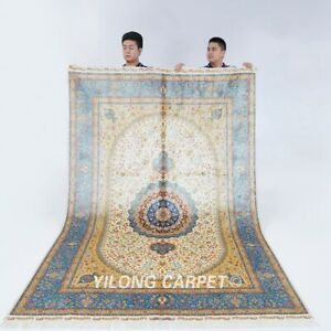 6x9ft Blue Silk Area Rugs Medallion Hand Knotted Villa Bedroom Carpets 438A