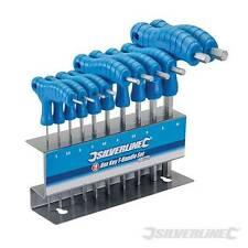 SILVERLINE T-HANDLE METRIC ALLEN ALAN ALLAN HEX WRENCH KEY SET STAND (323710)