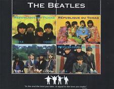 "Los Beatles John Lennon Paul Mccartney Tchad 2014 6"" X 5"" estampillada sin montar o nunca montada SELLO Sheetlet"