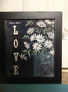 All You Need Is Love Sign DAISY mason jar art home decor wedding gift hanging