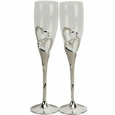 Wedding Champagne Toasting Flutes Crystal Glasses Silver Hearts Diamante