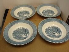 """LOT OF 4 ROYAL CHINA CURRIER & IVES 8 3/8"""" SOUP BOWLS – EARLY WINTER"""
