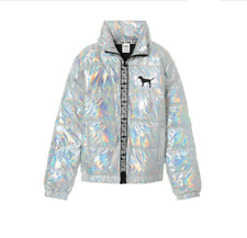 VICTORIA'S SECRET PINK Fashion Show Metallic Puffer Jacket Holiday Christmas M