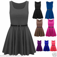 Womens Ladies Plain Belted Sleeveless Flared Franki Short Party Skater Dress Top