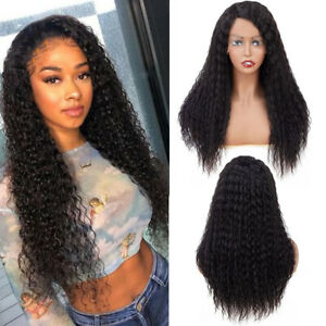 Women Deep Wave Wigs Long Curly Lace Frontal Wig Afro Kinky Curly Human Hair wig