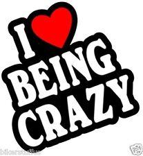 I LOVE BEING CRAZY BUMPER STICKER