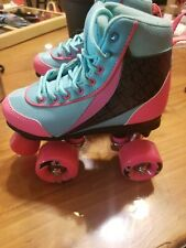 Kandy Skates Girls Size JR 12 Great Condition Aqua And Pink