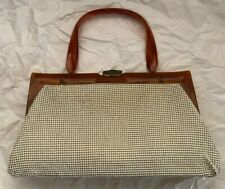 VINTAGE WHITING & DAVIS MESH BAG WITH BAKELITE HANDLE AND TRIM