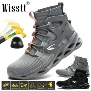 Wisstt Men's Safety Shoes Steel Toe Work Boots Climbing Sports High Top Trainers
