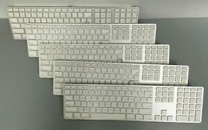 Lot of 5 - Apple A1243 Wired USB Keyboard with number pad