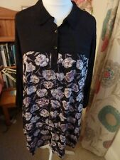 MASAI CLOTHING CO BLACK FLORAL PATTERNED TUNIC SHIRT SIZE M